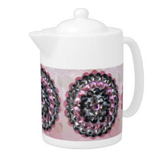 Sparkly Pink and Black Rhinestone Teapot