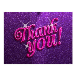 Sparkly Pink and Purple Thank You Postcard