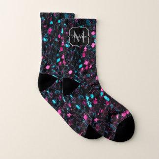 Sparkly pink blue mosaic glitter sparkles Monogram 1
