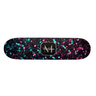 Sparkly pink blue mosaic glitter sparkles Monogram 21.6 Cm Old School Skateboard Deck