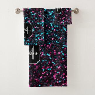 Sparkly pink blue mosaic glitter sparkles Monogram Bath Towel Set