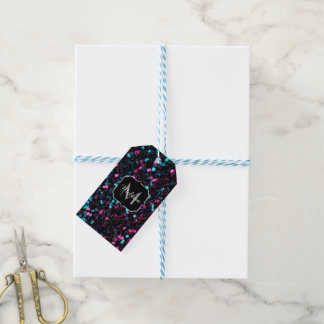 Sparkly pink blue mosaic glitter sparkles Monogram Gift Tags