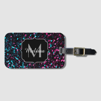 Sparkly pink blue mosaic glitter sparkles Monogram Luggage Tag
