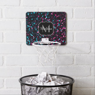 Sparkly pink blue mosaic glitter sparkles Monogram Mini Basketball Hoop