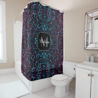 Sparkly pink blue mosaic glitter sparkles Monogram Shower Curtain