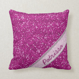 Sparkly Pink Glitter Custom Name Throw Pillow