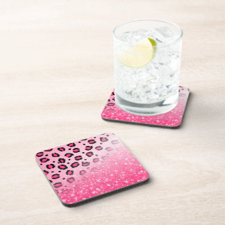 Sparkly Pink Leopard Print Decor For Teen Girls Drink Coaster