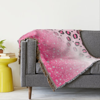 Sparkly Pink Leopard Print Decor For Teen Girls Throw Blanket