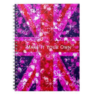Sparkly pink UK flag Notebook