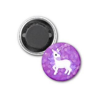 Sparkly Purple Glitter Pattern with a Cute Unicorn 3 Cm Round Magnet