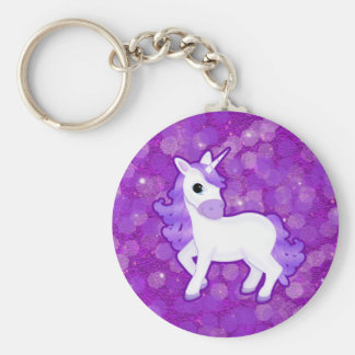 Sparkly Purple Glitter Pattern with a Cute Unicorn Basic Round Button Key Ring