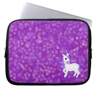 Sparkly Purple Glitter Pattern with a Cute Unicorn Laptop Sleeve