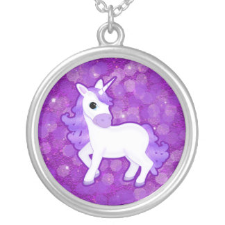 Sparkly Purple Glitter Pattern with a Cute Unicorn Silver Plated Necklace