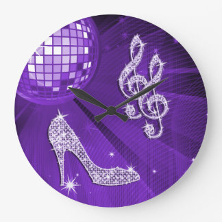 Sparkly Purple/ Lilac Music Note & Stiletto Heel Large Clock