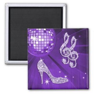 Sparkly Purple/ Lilac Music Note & Stiletto Heel Square Magnet