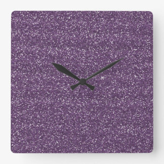 Sparkly Purple & Silver Glitter Square Wall Clock