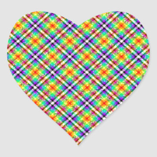 Sparkly Rainbow Gingham Plaid Heart Sticker