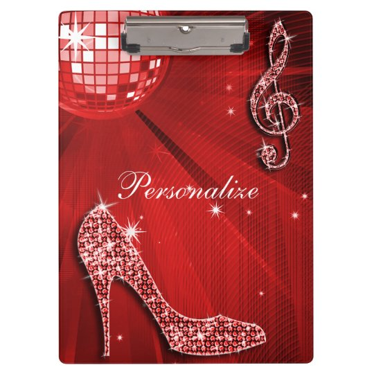 Sparkly Red Music Note & Stiletto Heel Clipboard