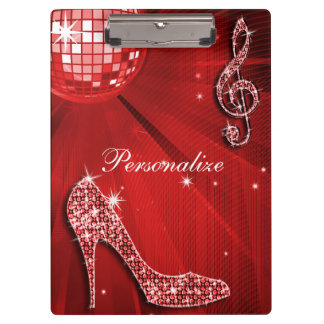 Sparkly Red Music Note & Stiletto Heel Clipboards