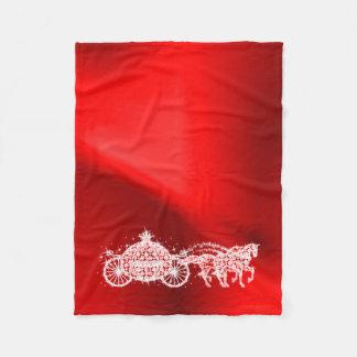 Sparkly Red Princess Coach & Horses Fleece Blanket