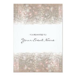 Sparkly Silver Faux Sequins Festive Party 13 Cm X 18 Cm Invitation Card