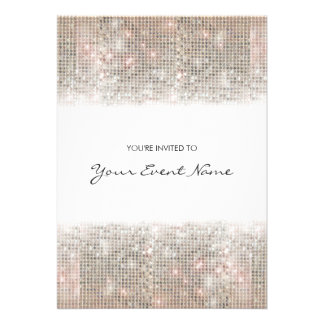 Sparkly Silver Faux Sequins Festive Party Personalized Invites