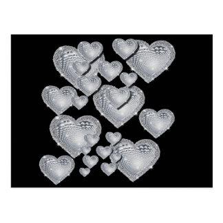 Sparkly silver hearts postcard