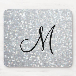 Sparkly Silver Monogram Mouse Pad