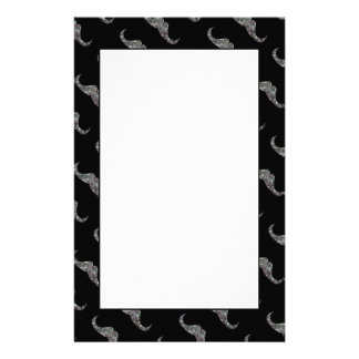 Sparkly silver mosaic Mustache pattern Stationery