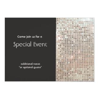 Sparkly Silver Sequins Festive Fun Party 13 Cm X 18 Cm Invitation Card