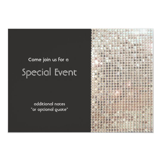 Sparkly Silver Sequins Festive Fun Party Card