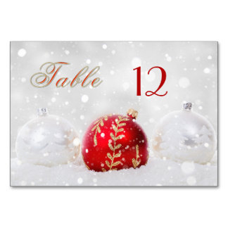 Sparkly Snow Christmas Baubles Table Number Card