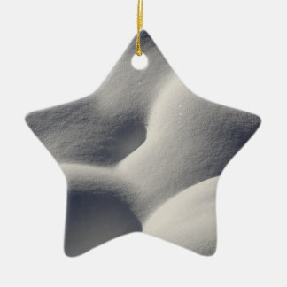 Sparkly Snow Mounds Abstract Nature Photography Ceramic Star Decoration