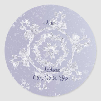 Sparkly Snowflake Address Label Round Sticker