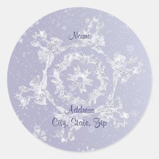 Sparkly Snowflake Address Label Round Sticker