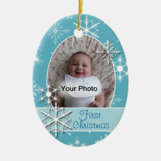 Sparkly Snowflakes Photo Christmas Ornament