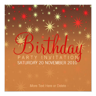 Sparkly Stars Party Birthday Invitation