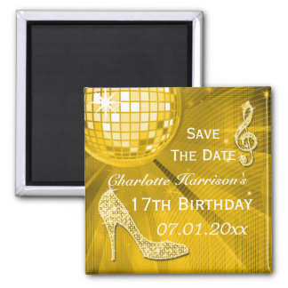 Sparkly Stiletto Heel 17th Birthday Save The Date Magnet