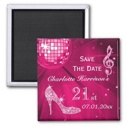 Sparkly Stiletto Heel 21st Birthday Save The Date Fridge Magnet