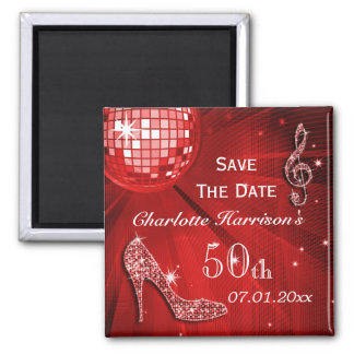 Sparkly Stiletto Heel 50th Birthday Save The Date Magnet