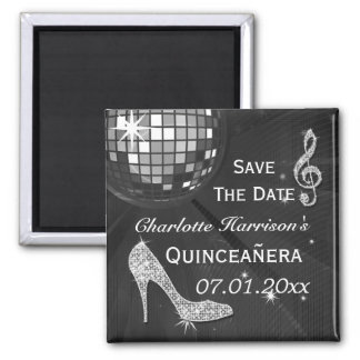 Sparkly Stiletto Heel Quinceañera Save The Date Square Magnet