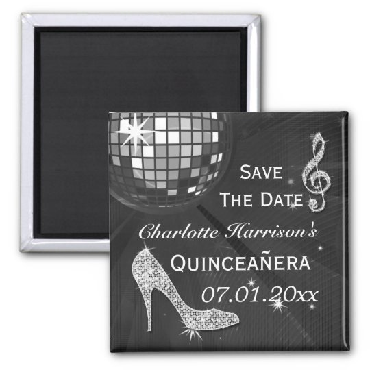 Sparkly Stiletto Heel Quinceañera Save The Date Square