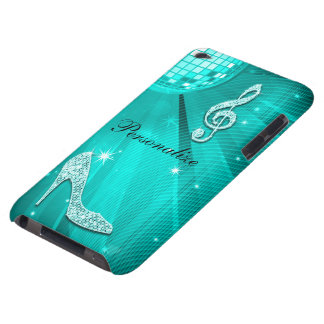 Sparkly Teal Music Note & Stiletto Heel Barely There iPod Case