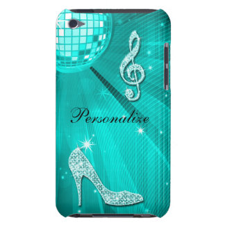 Sparkly Teal Music Note & Stiletto Heel Barely There iPod Cases