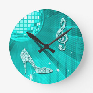 Sparkly Teal Music Note & Stiletto Heel Clocks