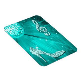 Sparkly Teal Music Note & Stiletto Heel Rectangular Magnets