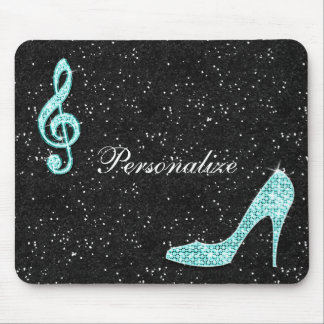 Sparkly Teal Music Note & Stiletto Heel Mouse Mat