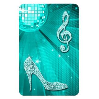 Sparkly Teal Music Note & Stiletto Heel Rectangular Photo Magnet