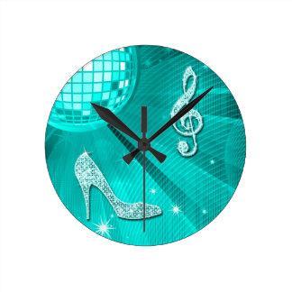 Sparkly Teal Music Note & Stiletto Heel Round Clock