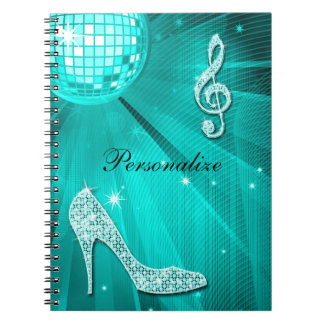 Sparkly Teal Music Note & Stiletto Heel Spiral Notebook